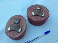 Trinket Boxes x 2 with Teddy Bear Embossed tops