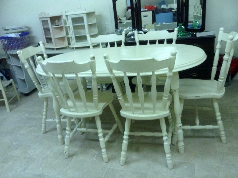 fabulous vintage shabby chic country kitchen table 6 chairs in