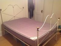 Antique white rod iron 3/4 bed & ikea 'Sultan' mattress for sale
