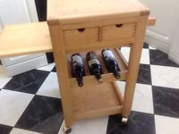Lovely Quality kitchen butchers block rolling trolley island