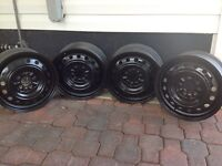 FOUR 17 INCH PERFECT CONDITION STEEL RIMS