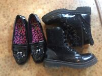Girls shoes clarks size 3e. Also pair of boots size 3