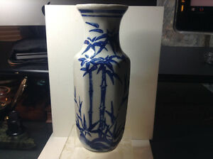 Vintage Chinese Vase White Crackle Ware With Blue Bamboo