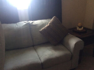 Soft Teal Microfibre new condition sofa and love seat