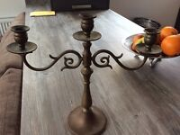 Laura Ashley 3 Arm Brass Candle Holder