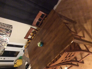 Solid wood table and 6 matching chairs