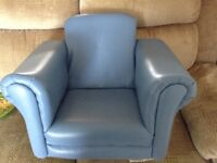 Blue child's arm chair