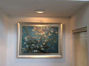 Van Gogh Hand-made 100%silk embroiled art picture  apricot bloom