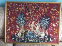 Large Medieval Tapestry Lion unicorn & Lady in a Fabulous Gilt Frame 86cmX68cm
