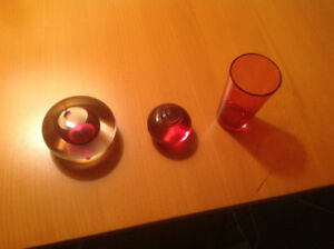 Cranberry glass paperweights