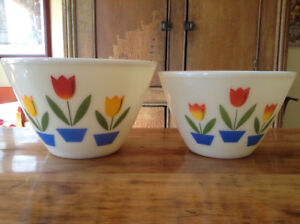 "Vintage Fire King Tulip Mixing Bowls- excellent, 9 1/2"", 8 1/2"""