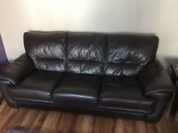 Faux Leather 3pc & 2pc Sofas - Dark Brown
