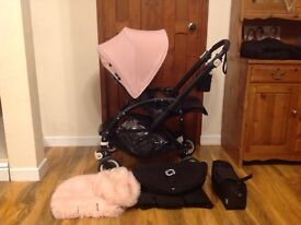Bugaboo bee3 genuine black frame soft pink package +extras.