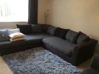 Large grey/black/v. dark brown corner sofa only 18mths old