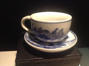 Antique Blue White Chinese Oriental Tea Cup & Saucer