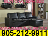 NO TAX 2PCS SECTIONAL SOFA BED BLACK OR WHITE