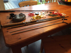 Fishing rods/ reel, various floats, flies , weights etc