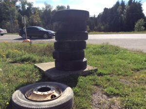 7 used BIG RIG Tractor Trailer TIRES n rims