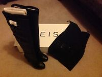 Reiss Black Long Leather Boots