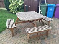 8seater solid wood picnic/garden dining table