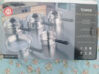 New stainless steel 5-piece pan set (Tower Pro)