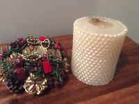Christmas candle and candle holder