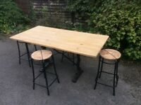 Rustic Farmhouse Pine Table on Cast Iron Base with Four Stools
