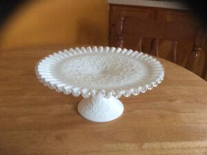 "Fenton 10"" milk glass ""Spanish Lace"" silver crest cake plate"