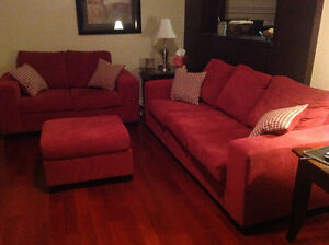 Red Leons sofa and love seat with foot stool