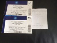 2 tickets for Queen and Adam Lambert at the O2