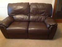 2 x 2 seater reclining sofa in brown leather