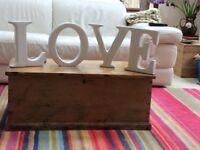 LOVE freestanding wall hanging ceramic letters.