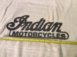 Antique INDIAN MOTORCYCLES steel emblem !