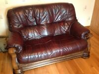 Two and One Burgundy Leather Sofa Suite