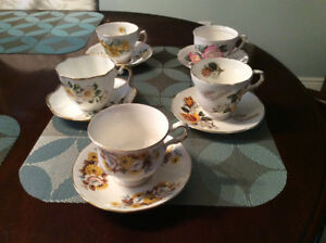 5 Bone China Cups and Saucers.