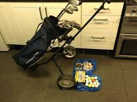 Full set of golf clubs r/h with trolley & extras