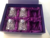 4 Edinburgh 3inch Tay design Crystal whisky glasses.