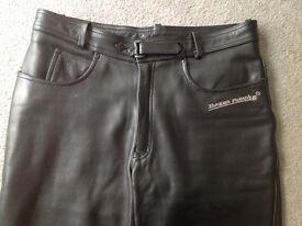 Men's/biker's leather trousers/jeans 36w