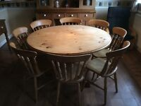 PINE ROUND FAMILY KITCHEN/DINING TABLE AND 8 CHAIRS,