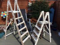 Wooden vintage step ladders rubbed down shabby chic excellent condition Large £40 small £30