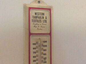 "Antique ""WESTERN TARPAULIN TEXTILES LTD."" metal thermometer !"