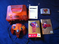 console fire orange  n 64 rare nintendo 64 zelda cib wow