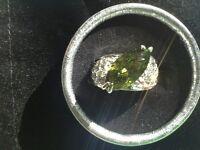 Green Peridot Austrian Crystal Ring Size 9