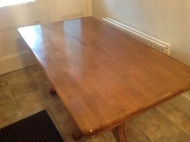 Highly polished twin pedestal solid light oak dining table for quick sale