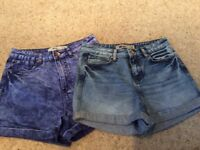 New Look UK Size 10 denim MOM shorts £4 each or both for £7