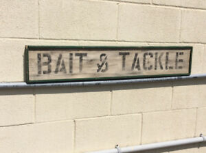 "Vintage ""BAIT & TACKLE '  wooden sign !"