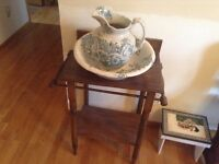 Antique pitcher and bowl with stand