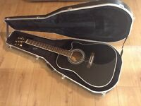electro acoustic guitar Harley Benton in black with cut away and hard case