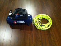 3 gallon air compressor/ new 50 ft hose