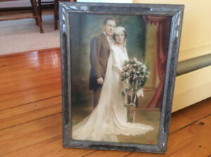 REDUCED from $25 - Hand coloured vintage framed picture